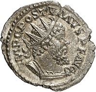 Lot 290. Postumus. Antoninianus, Cologne, January 268. Unique, published for the first time in 2017. Extremely fine. Estimate: 2,500 euros.