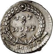 Lot 485. Jovian. Siliqua, Arles, 363-365. RIC 331. Rare. Beautiful toning. Extremely fine. Estimate: 750 euros.