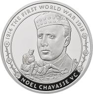 "Great Britain / £5 ""Noel Chavasse"" / .925 silver / 38.61mm / 28.28g / Reverse Design: David Cornell / Mintage: 1917 (set)."