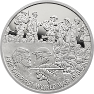 "Great Britain / £5 ""Art and the War"" / .925 silver / 38.61mm / 28.28g / Reverse Design: David Cornell / Mintage: 1917 (set)."