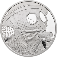 "Great Britain / £5 ""Gas"" / .925 silver / 38.61mm / 28.28g / Reverse Design: David Cornell / Mintage: 1917 (set)."