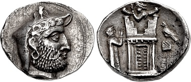 Lot 544: Kings of Persis. Vadfradad (Autophradates) II. Early-mid 2nd century BC. AR Tetradrachm. Istakhr (Persepolis) mint. Good VF. Estimate: 10,000 USD.