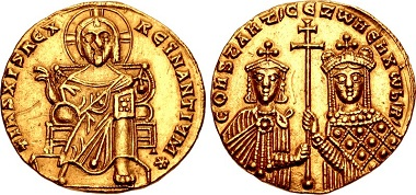Lot 890: Constantine VII Porphyrogenitus, with Zoe. 913-959. AV Solidus. Constantinople mint. Struck 6 February 914. EF. Estimate: 20,000 USD.
