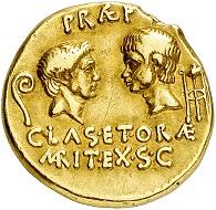 Lot 615: Sextus Pompey, +35 BC, with Pompey the Great and Gnaeus Pompeius. Aureus, 37-36 BC, Sicilian mint. Very rare. Very fine. Estimate: 75,000,- euros.