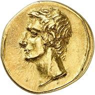 Nr. 661: Polemon I. von Bosporus für Augustus. Goldstater, Jahr 289 (= 9/8 v. Chr.). Aus Sammlung Großfürst Alexander Michailowitsch Romanow. Äußerst selten. Fast stempelglänzendes Prachtexemplar.Taxe: 60.000,- Euro.