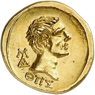 Lot 661: Polemon I of Bosporus for Augustus. Gold stater, year 289 (= 9/8 BC). From the collection of Grand Duke Alexander Mikhailovich Romanov. Extremely rare. Almost FDC showpiece. Estimate: 60,000,- euros.