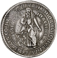 Lot 1938: Schlick. Stephan Burian, Heinrich, Hieronymus, and Lorenz, 1505-1532. Double taler 1520, Joachimstal, with the title of Ludwig II, King of Hungary and Bohemia. Extremely rare. Very fine. Estimate: 20,000,- euros.