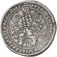 Nr. 1938: Schlick. Stephan Burian, Heinrich, Hieronymus und Lorenz, 1505-1532. Doppeltaler 1520, Joachimstal, mit Titel Ludwigs II., König von Ungarn und Böhmen. Äußerst selten. Sehr schön. Taxe: 20.000,- Euro.