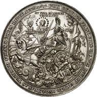Nr. 1721: Schweden. Silbermedaillon 1634 von Sebastian Dadler auf das Begräbnis von König Gustav II. Adolf in der Riddarholmskyrkan am 22. Juni 1634. Sehr selten. Vorzüglich bis Stempelglanz.Taxe: 5.000,- Euro.