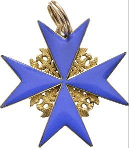 Lot 7010: Order Pour le mérite, awarded on September 4, 1794, to Major Johann Sigismund von Dallwitz (1753-1836). Cross of the Order. RRRR. II+. Estimate: 20,000,- euros.