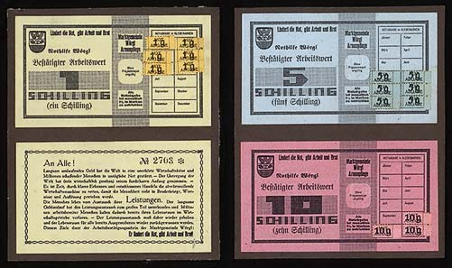 The labour certificates of Wörgl were issued in three different denominations: one, five and ten shillings.