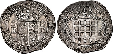 Lot 1128. Tudor. Elizabeth I. 1558-1603. 'Portcullis' money. VF, toned. Rare. Estimated at $10,000.