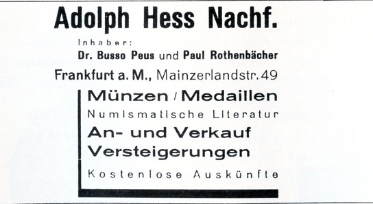 Advertisement of Adolph Hess Nachf. under Dr. Busso Peus and Paul Rothenbächer.