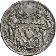 Brustbild Luthers mit Barett und Talar / Engel mit Lutherrose, 1530, Medaille von Wolf Milicz, Blei.