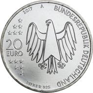 Stilisierter Kopf Luthers mit Barett, rechts Einleitung und Beginn der 95 Thesen, 2017, 20 Euro, Entwurf P. Niesel, Silber.
