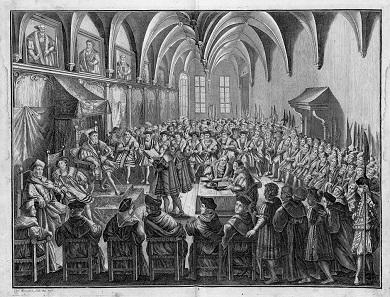 Dr. Christian Beyer verliest am 25. Juni 1530 Kaiser Karl V. die von Melanchthon verfasste Augsburger Konfession. Kupferstich von Karl Remshard (1678-1735).