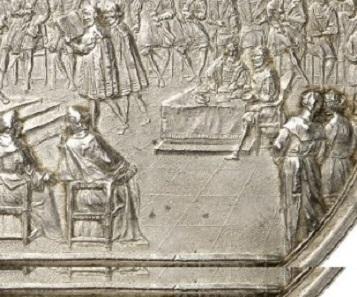 Details aus Silbermedaille Los-Nr. 3276 und dem Kupferstich von Karls Remshard.