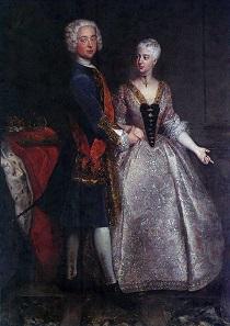 Brautporträt aus dem Jahr 1729 von Markgraf Karl Wilhelm Friedrich von Brandenburg-Ansbach und Prinzessin Friederike Luise von Preußen. Antoine Pesne (1683-1757).