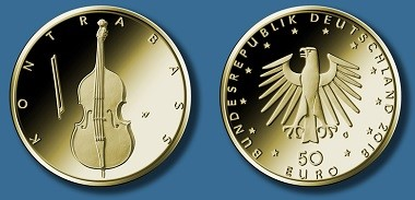 """Goldene 50-Euro-Gedenkmünze """"Kontrabass"""". Quelle: BADV."""