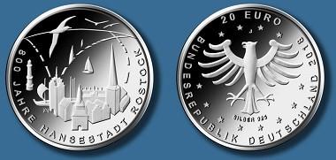 """20-Euro-Gedenkmünze """"800 Jahre Hansestadt Rostock. Quelle: BADV."""