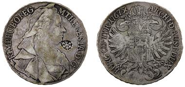 """Konventionstaler, Österreichische Erbländer, Maria Theresia, Wien, 1767, Silber, Gegenstempel """"Stern von Madura"""". Geldmuseum, Inv.Nr. NZ08912. Quelle: OeNB."""