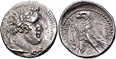 Lot 237: Phoenicia, Tyre. 126/5 BC-AD 65/6. AR Shekel. VF. Estimate: 300 USD.