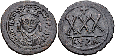 Lot 578: Tiberius II Constantine. 578-582. AE Three-quarter Follis-30 Nummi. Cyzicus mint. VF. Estimate: 200 USD.
