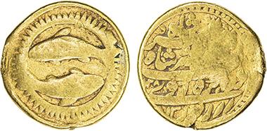 Lot 1440: Mughal Empire. Jahangir, 1605-1628. Gold zodiac mohur. Ahmadabad. AH1028 year 13. Good, RR. Estimate: 20,000-25,000 USD.