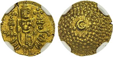 Lot 1886: Pondichéry. Gold pagoda, ND (1715-1774). NGC MS65, RRR. Estimate: 8,000-10,000 USD.