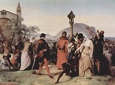 Outbreak of the Sizilian Vespers. Oil painting by Francesco Hayez. Source: Wikipedia.