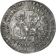 Magdeburg, Reichstaler 1617 on the 100th anniversary of the Reformation. Estimate: 2,000 euros. From Künker sale 297 (September 27, 2017), No. 3516. – The description of the obverse sheds light on the relationship between the reformers Hus and Luther (translated from Latin): After a hundred years, you will be answering God and me. Prophecy of John Hus, burnt at the stake in 1415. After the expiration, God has raised Dr. Martin Luther in 1517, to restore the heavenly teaching.