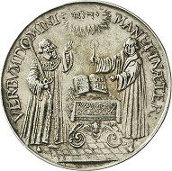 Saxony. Johann Georg I (1615-1656). Silver medal no date (1617) by C. Maler on the 100th anniversary of the Reformation. Estimate: 300 euros. From Künker sale 297 (September 27, 2017), No. 3719. – The medal places the great importance of the Saxon Elector for the Reformation at the center of the representation, thereby demanding a comparable leadership role within the Protestant Estates in its day.
