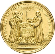 Saxony. Friedrich August I (1694-1733). Gold medal 1717 of 3 ducats by G. Hautsch(?) on the 200th anniversary of the Reformation. Estimate: 2,000 euros. From Künker sale 297 (September 27, 2017), No. 3782. – Despite Augustus the Strong having returned to the Catholic faith, the medal emphasizes the importance of the Saxon Elector for the enforcement of the Reformation.