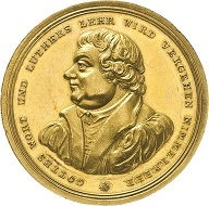 Hamburg, Bankportugalöser 1817 of 10 ducats by G.V. Bauert on the 300th anniversary of the Reformation. Estimate: 2,000 euros. From Künker sale 297 (September 27, 2017), No. 3437.
