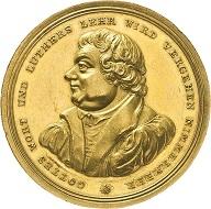 Hamburg. Bankportugalöser 1817 zu 10 Dukaten von G. V. Bauert auf die 300-Jahrfeier der Reformation. Schätzung: 2.000 Euro. Aus Auktion Künker 297 (27. September 2017), Nr. 3437.