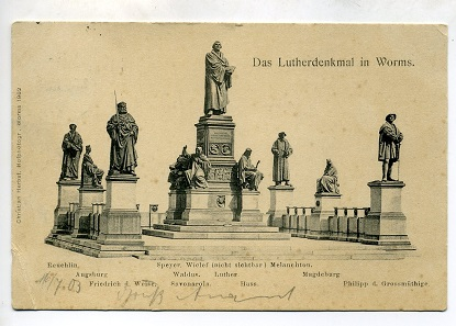 Luther Memorial in Worms, the largest Reformation memorial. Postcard from 1903.