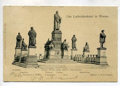 Lutherdenkmal zu Worms. Das größte Reformations-Denkmal. Postkarte des Jahres 1903.