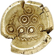 """Lot 13: Celts. Hesse and Rhineland. Northern group. """"Rainbow cup"""", 50-25 BC. Extremely fine. Estimate: 2,500,- euros."""