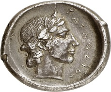 """Lot 91: Catane (Sicily). Tetradrachm, 430-425, unsigned work by """"Kra"""". From the Pozzi Collection and the Lockett Collection. Very rare. Very fine. Estimate: 5,000,- euros."""