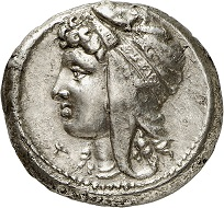 Lot 130: Siculopunians (Sicily). Tetradrachm, ca. 320-310. Very fine+. Estimate: 25,000,- euros.