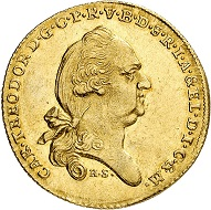 Lot 2150: Bavaria. Karl Theodor, 1777-1799. Ducat made of Danube River gold, 1779, Munich. Very rare. Extremely fine to FDC. Estimate: 12,500,- euros.