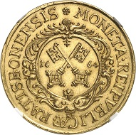 Lot 2594: Regensburg. 4 ducats 1664. Very rare. Graded NGC MS63. Extremely fine to FDC. Estimate: 20,000,- euros.