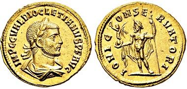 Los 2679: Römisches Kaiserreich. Diocletianus. 284-305 n. Chr. Aureus. Taxe: 11.000 EUR.