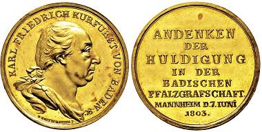 Los 3015: Kurfürstentum Baden. Karl Friedrich. 1803-1806. Rheingold-Medaille 1803. Taxe: 17.500 EUR.