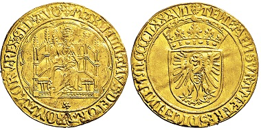 Los 3134: RDR. Maximilian I. 1493-1519. Breiter Real d'or 1487. Taxe: 20.000 EUR.