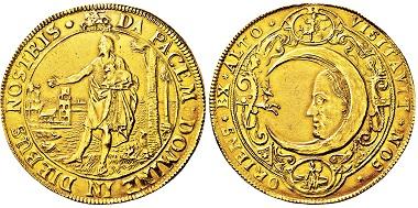 Los 3192: Lüneburg. 10 Dukaten (um 1620). Goldabschlag des Jagdtalers. Taxe: 50.000 EUR.