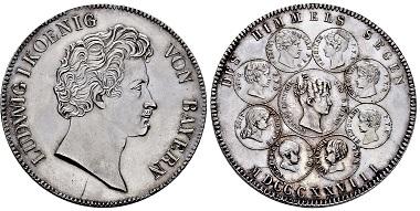 Los 4019: Königreich Bayern. Ludwig I. 1825-1848. Probe des Geschichts-Konventionstalers 1828. Taxe: 3.000 EUR.