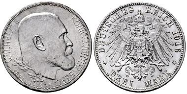 Los 4227: Königreich Württemberg. Wilhelm II. 1891-1918. 3 Mark 1916 F. Taxe: 4.500 EUR.