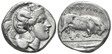 Lot 15: Lucania, Thurium. Di-Nomos circa 350-300. Good very fine. Starting Bid: 250 GBP.