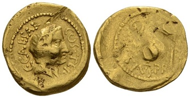 Lot 463: Julius Caesar and A. Hirtius Praetor. Aureus circa 46. Good fine/fine. Starting Bid: 1,100 GBP.